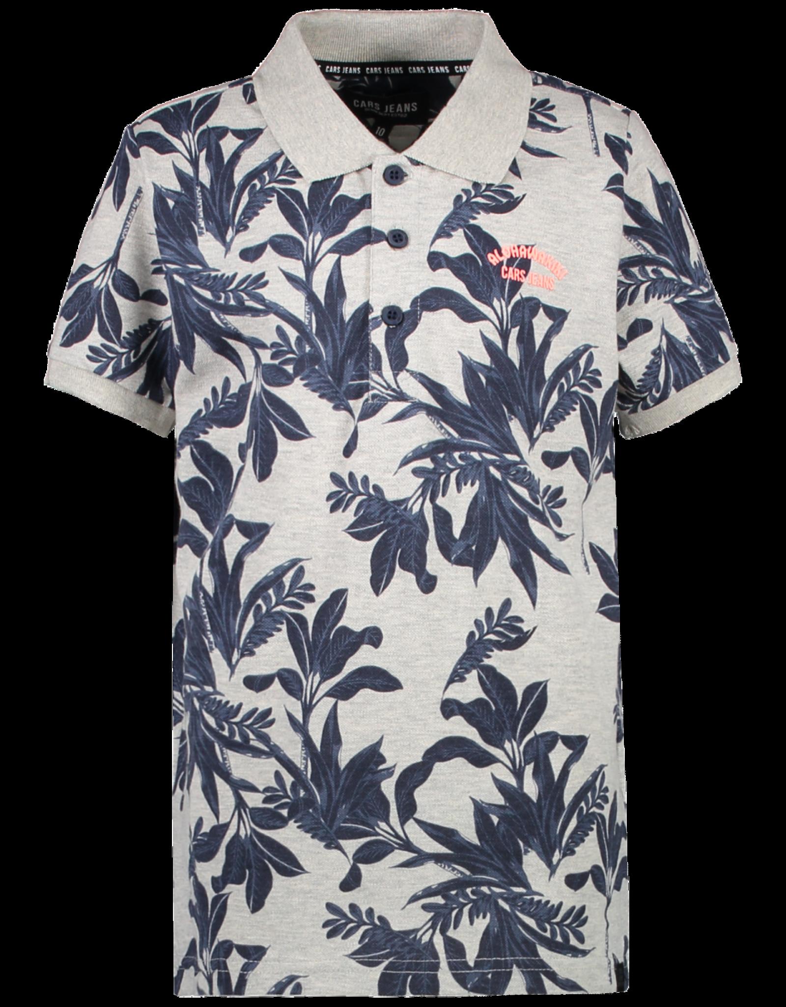 Cars Cars Richie grijs polo t-shirt met navy plantenprint