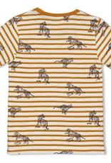 Sturdy Sturdy okergeel/wit gestreept t-shirt met tijgerprint