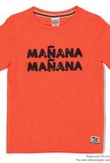 Sturdy Sturdy neon koraal t-shirt met 'Mañana Mañana' opdruk