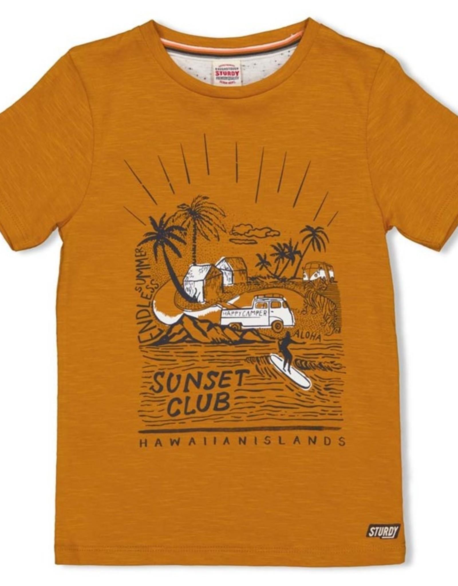 Sturdy Sturdy okergeel t-shirt met zomerse opdruk