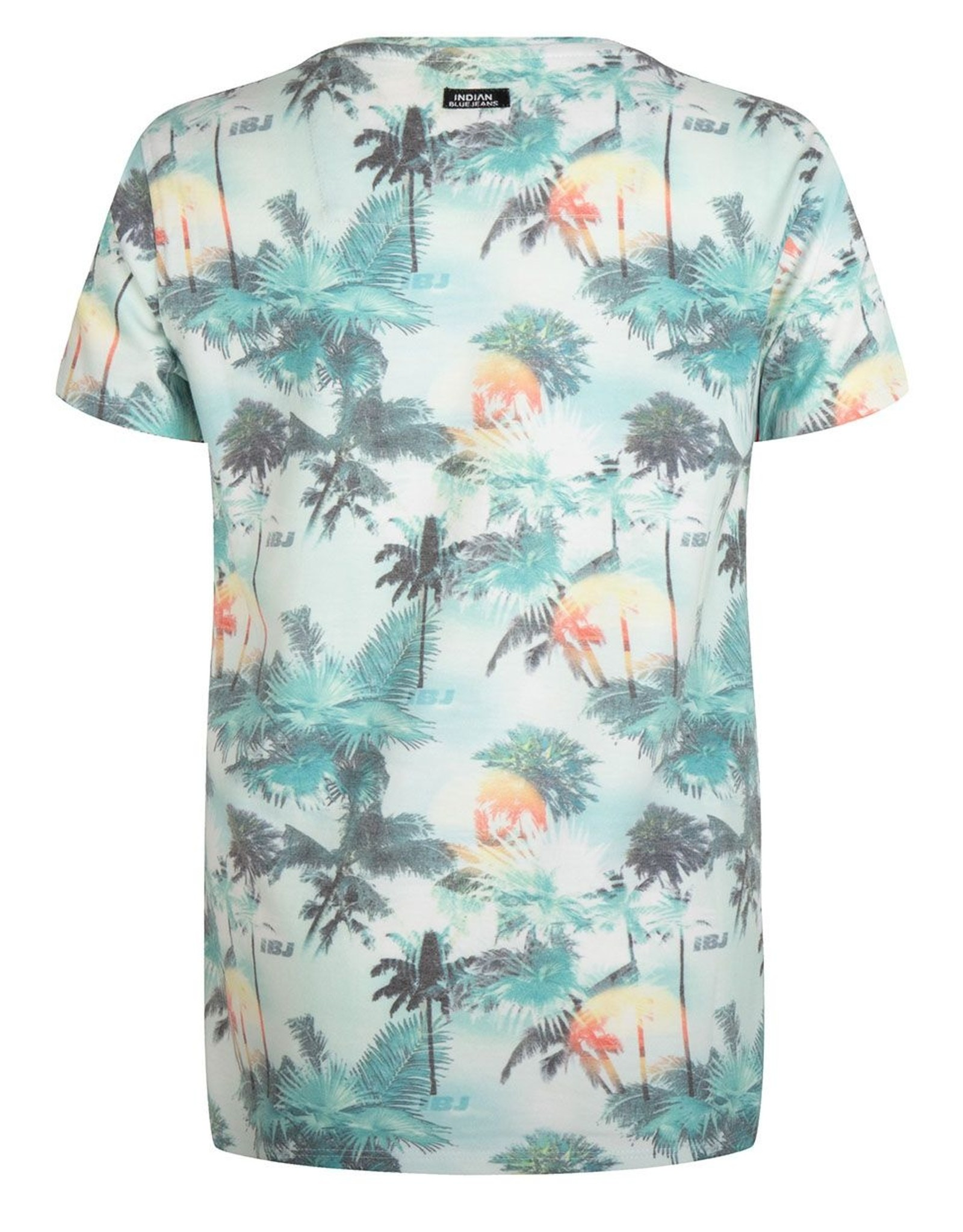 Indian Blue Jeans IBJ t-shirt met vervaagde palmenprint