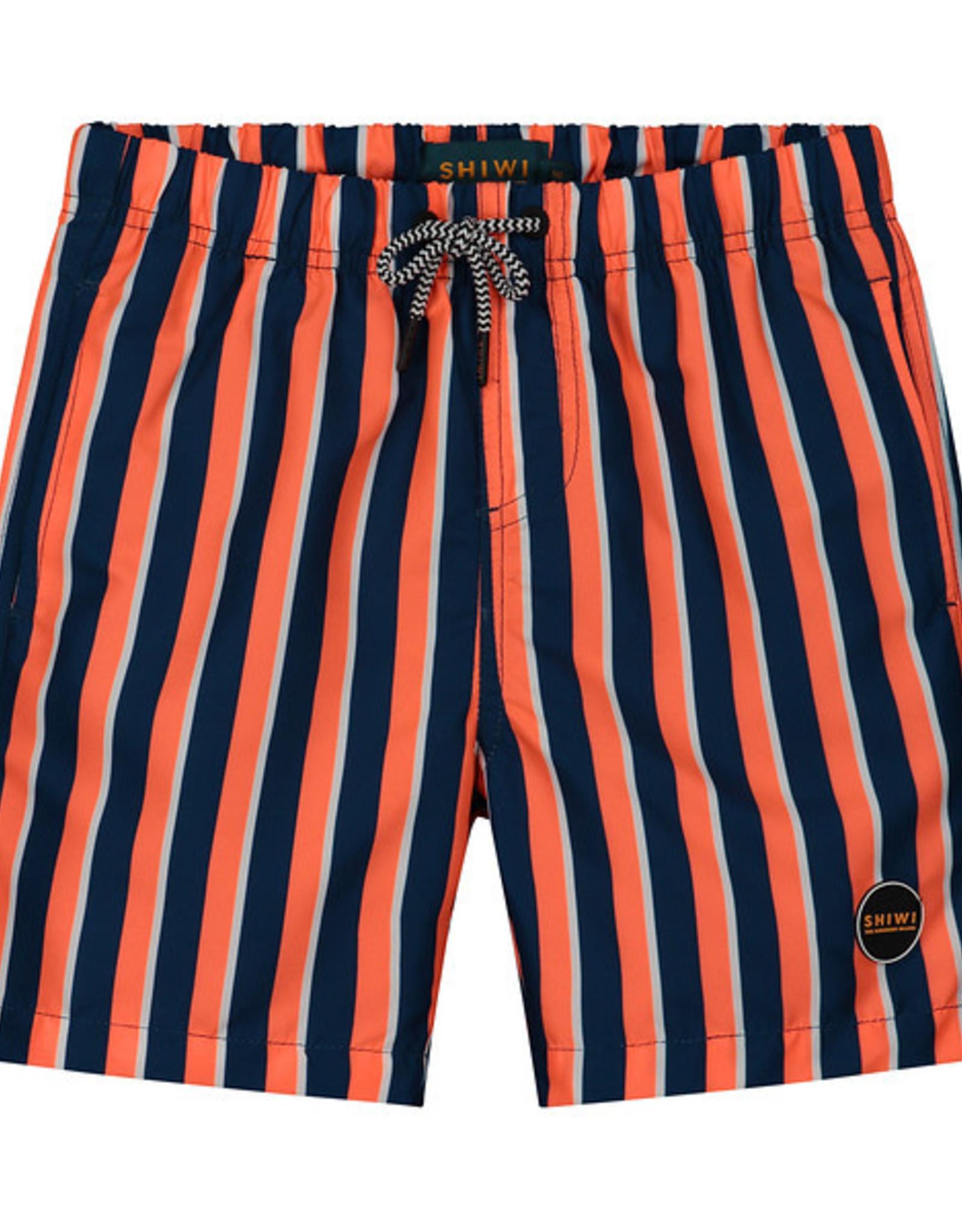 Shiwi Shiwi zwemshort midi stripe neon orange