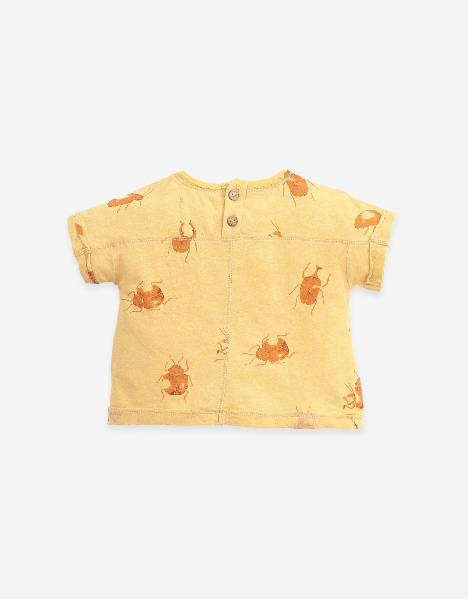 Play Up Play Up t-shirt met insectenprint straw (strogeel)