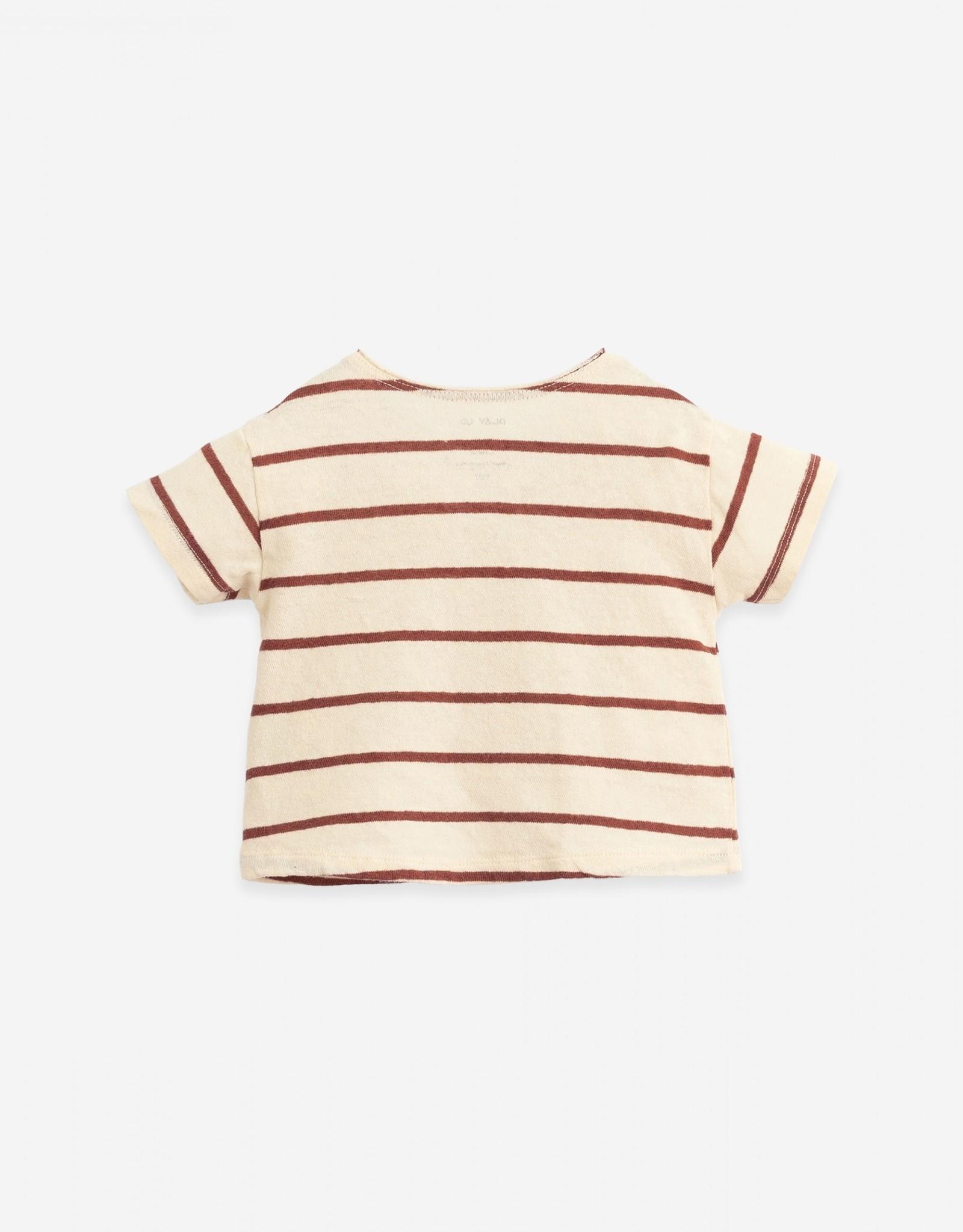 Play Up Play Up gestreept t-shirt met knoopjes farm (roest/ecru)
