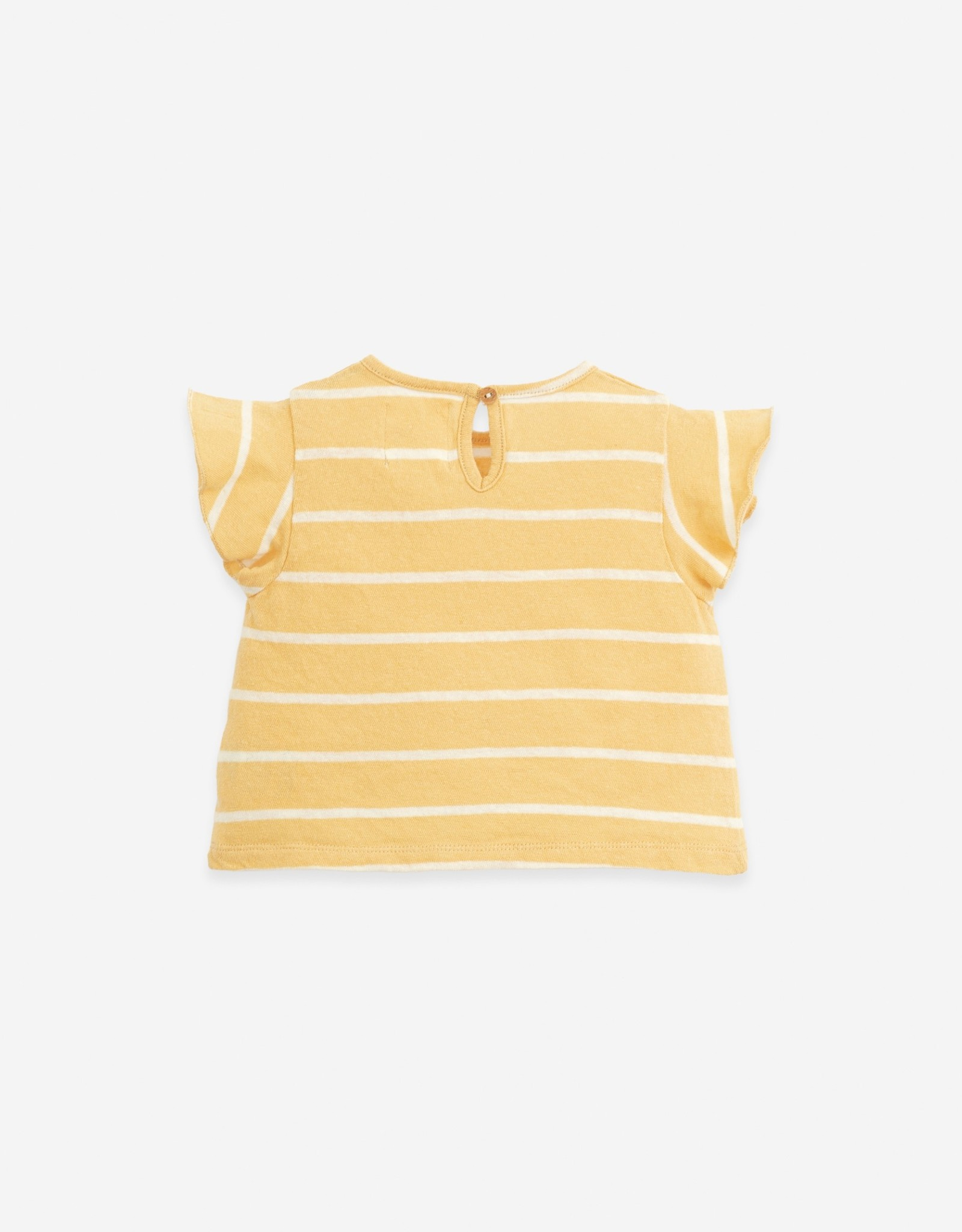 Play Up Play Up gestreept t-shirt straw (strogeel)