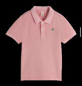 Scotch & Soda Scotch Shrunk roze polo t-shirt met groen logo