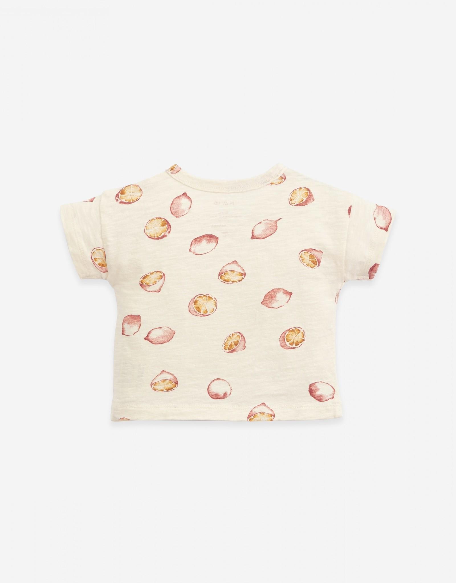 Play Up Play Up t-shirt met knoopje en citroenenprint dandelion (ecru)