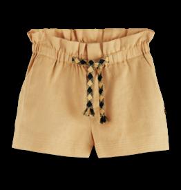 Scotch & Soda Scotch R'Belle zandkleurige linnen short met geruit touwtje