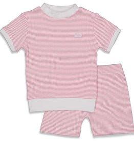 Feetje Feetje wafel pyjama korte mouw roze