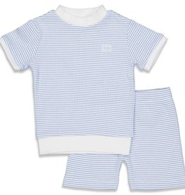 Feetje Feetje wafel pyjama korte mouw blauw