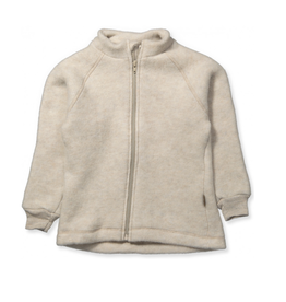 Mikk-Line Mikk-Line wollen jasje met elastiek bij mouwen Melange Off-White
