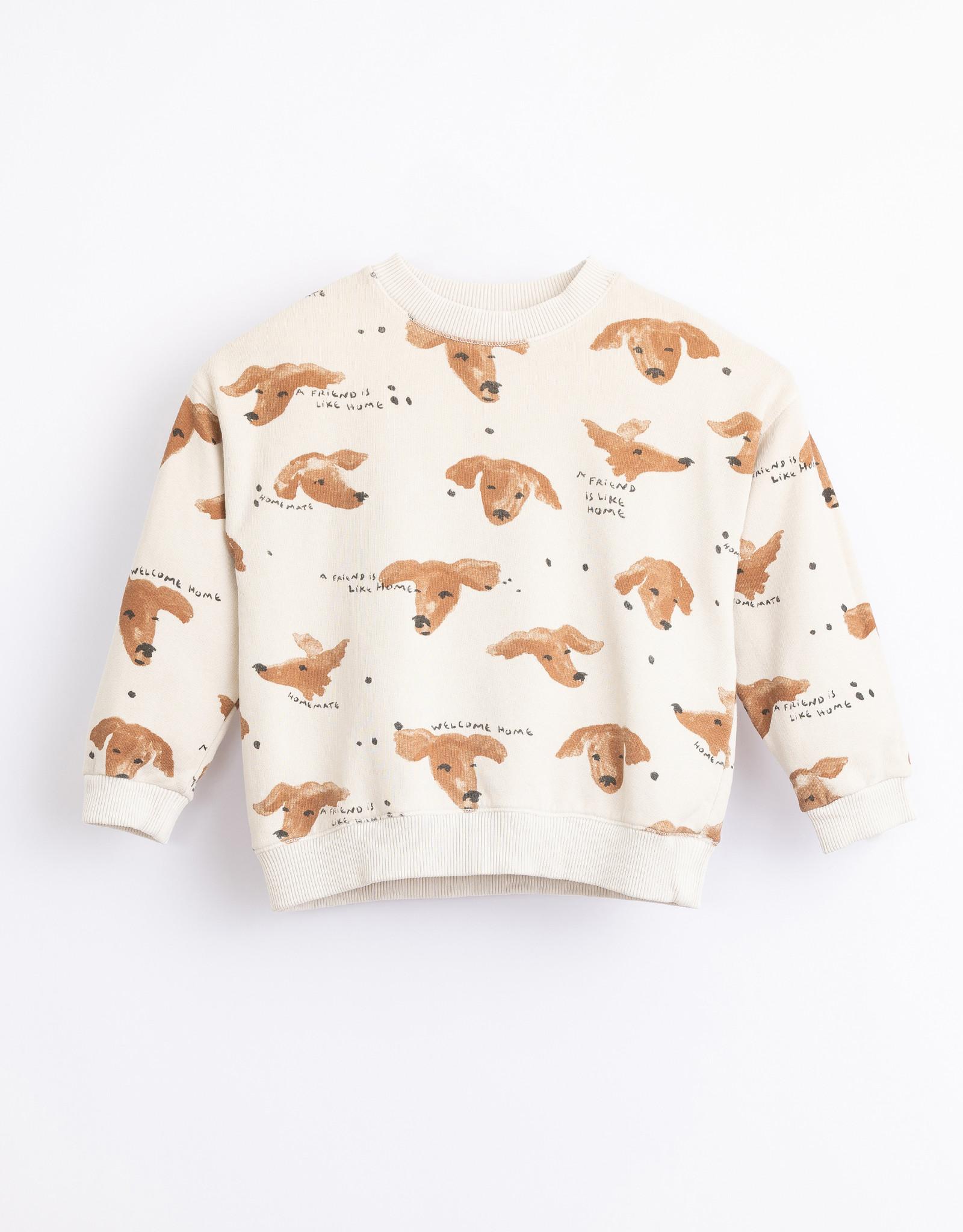 Play Up Play Up sweater met hondenprint miró (creme)