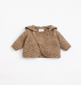 Play Up Play Up knitted vestje met capuchon paper (bruin)