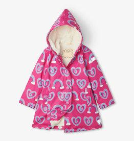 Hatley Hatley gevoerde regenjas hartjes en regenbogen roze