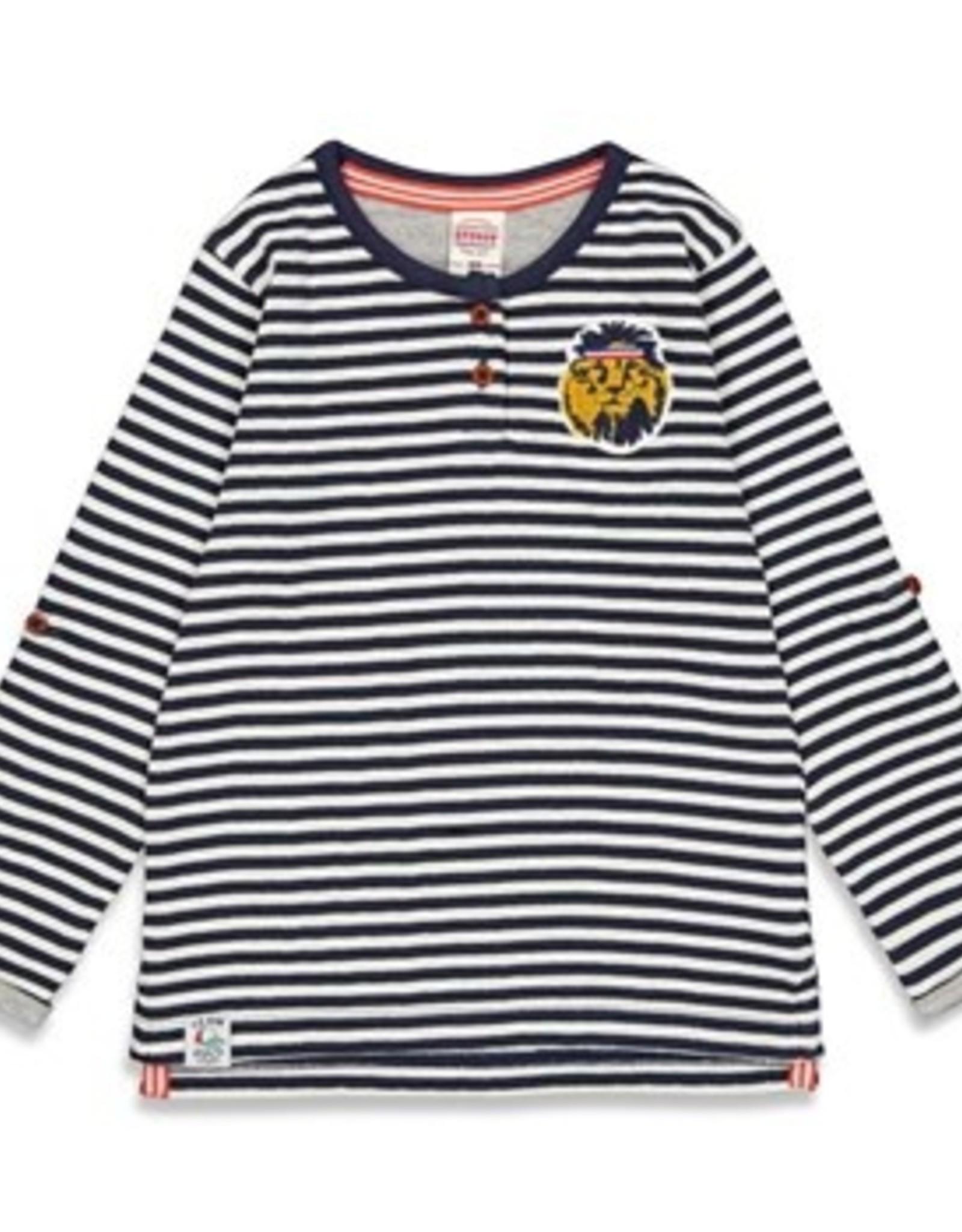 Sturdy Sturdy wit/navy gestreept t-shirt met lange mouwen