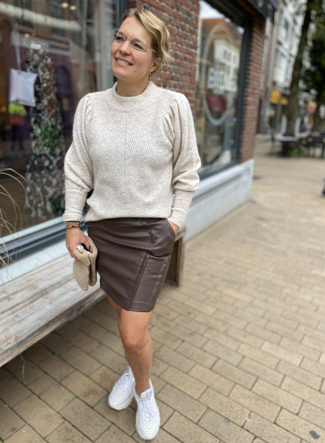 YAYA W20F faux leather skirt brownie
