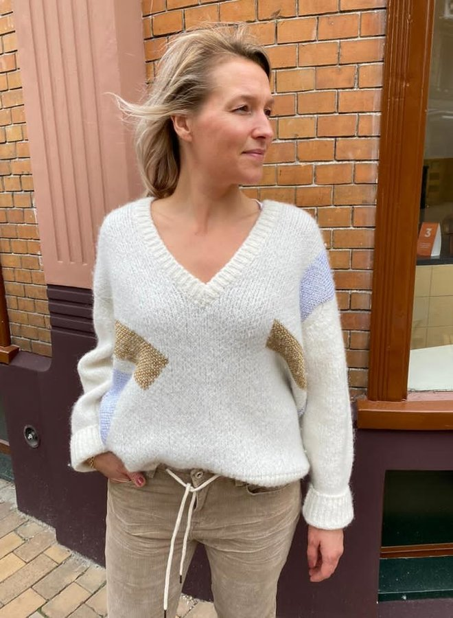 10DAYS W203 sweater v-neck big ten ecru