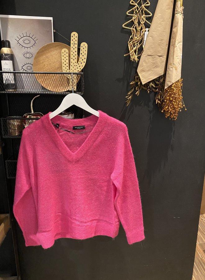 SF W20F lulu knit v-neck berry