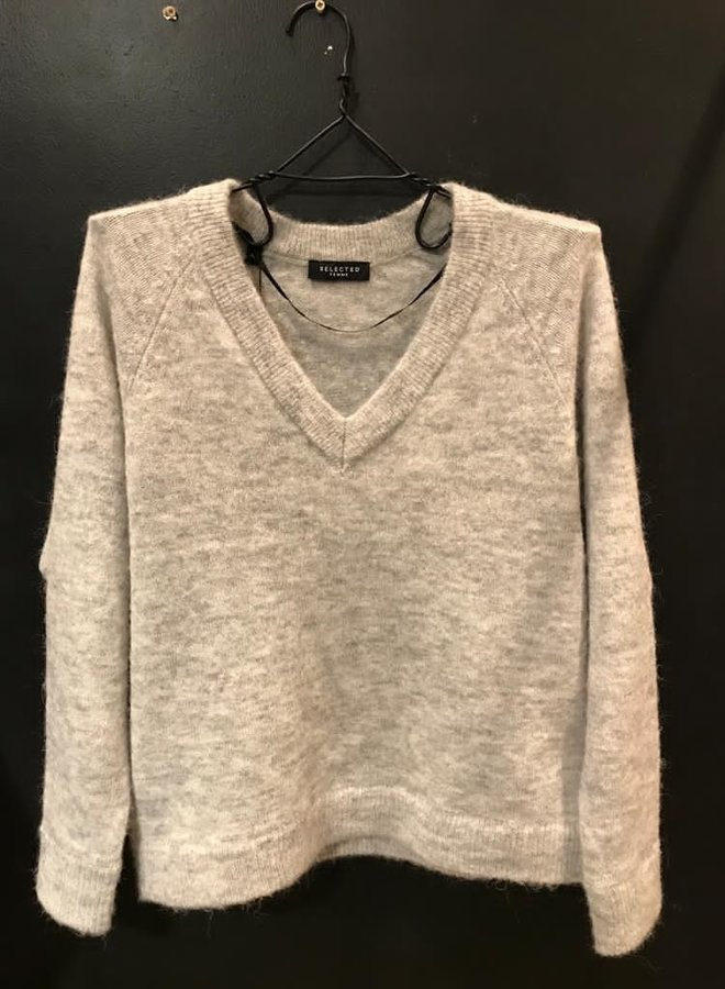 SF lulu knit v-neck noos light grey