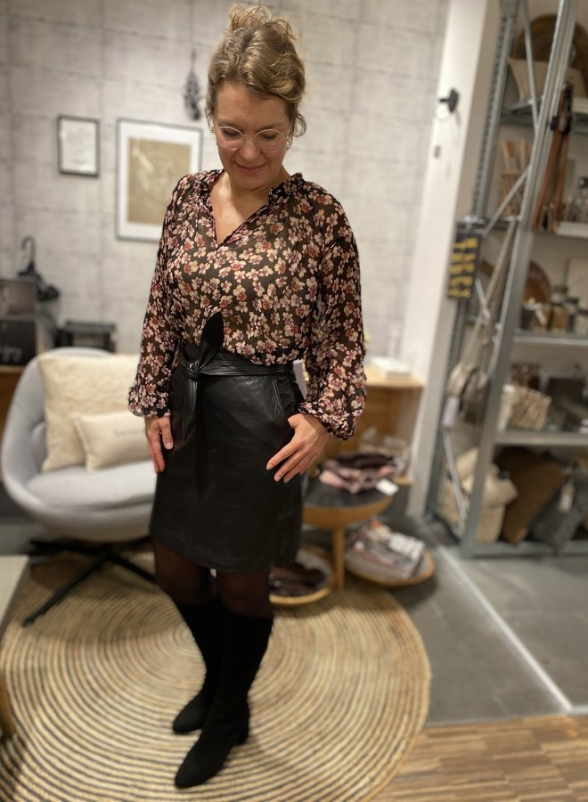 SF W20F monroe leather skirt black