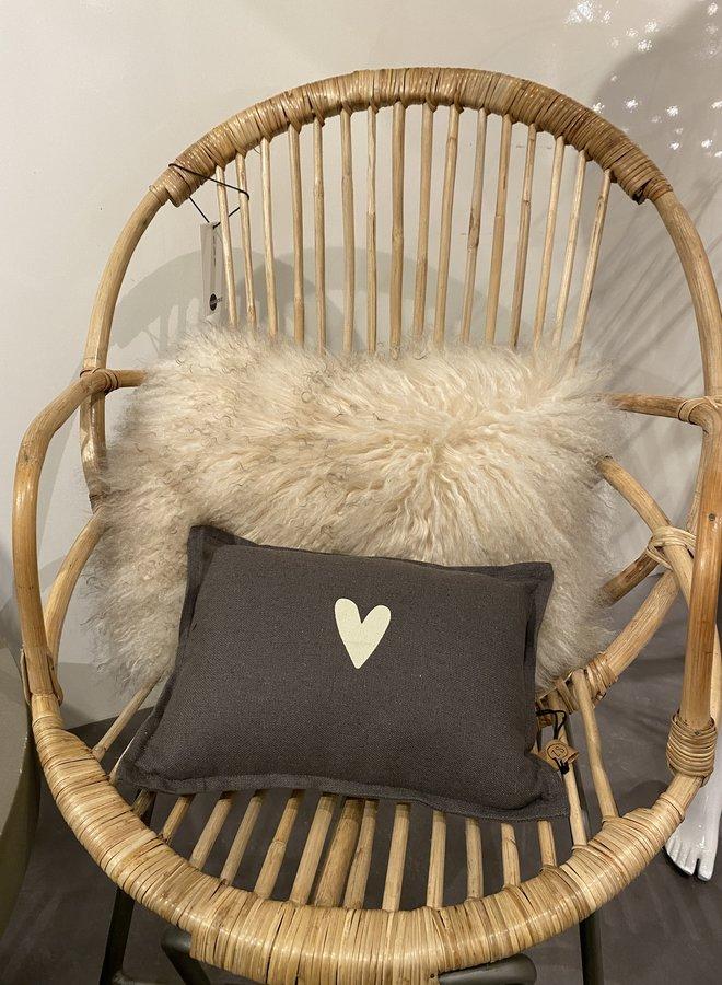 Bloomingville cushion  30x40 cm lambskin nature