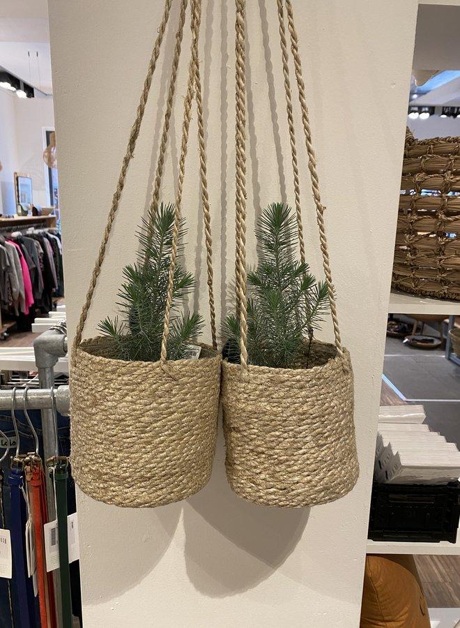 Nordal jute hanging pot naturel