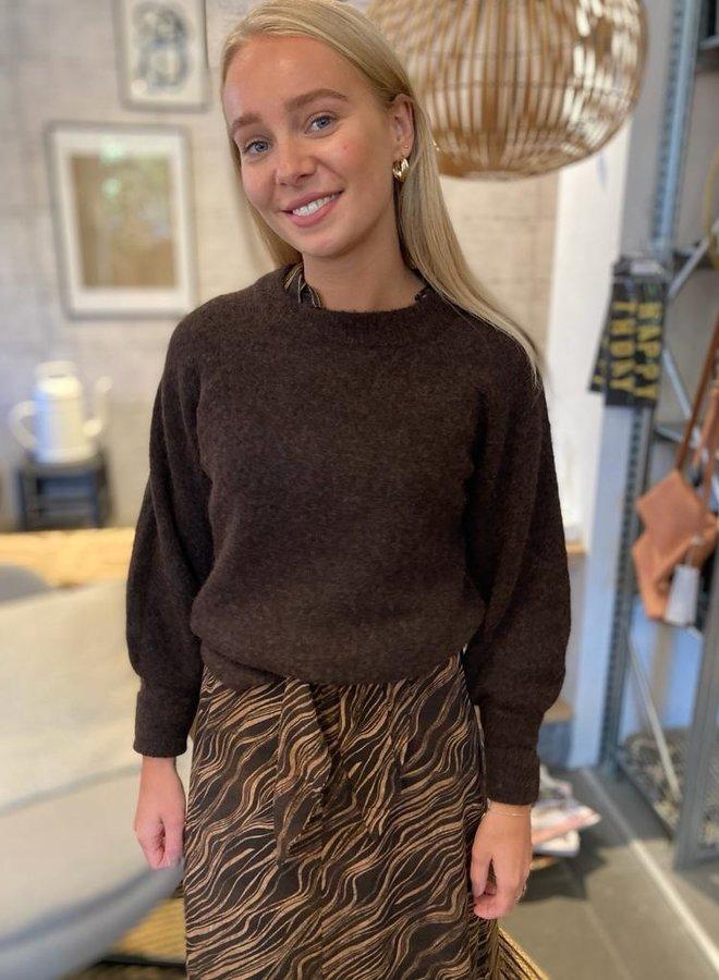 SF knit o neck coffee