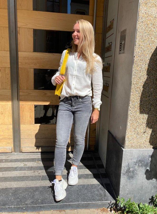 Knit-ted ezra blouse white