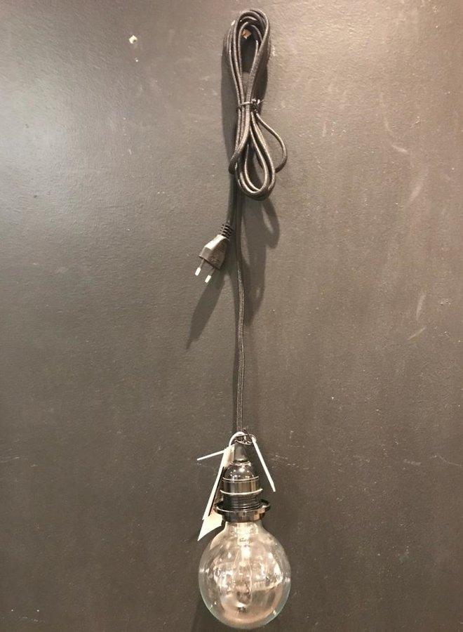 Madam Stoltz lamp peertje zilver zw/w koord
