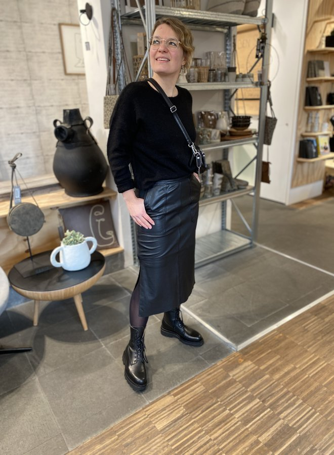 Second Female francie leather skirt black