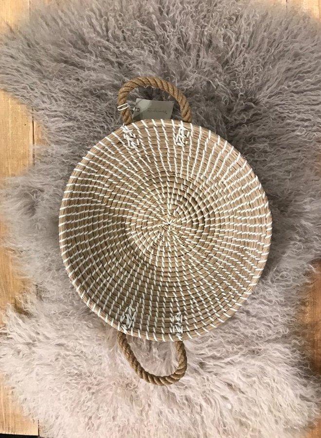 Bloomingville basket seagrass handle wit dia 36cm