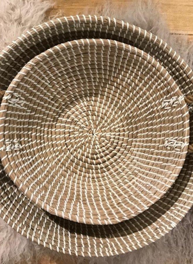 Bloomingville basket seagrass handle wit dia 46cm
