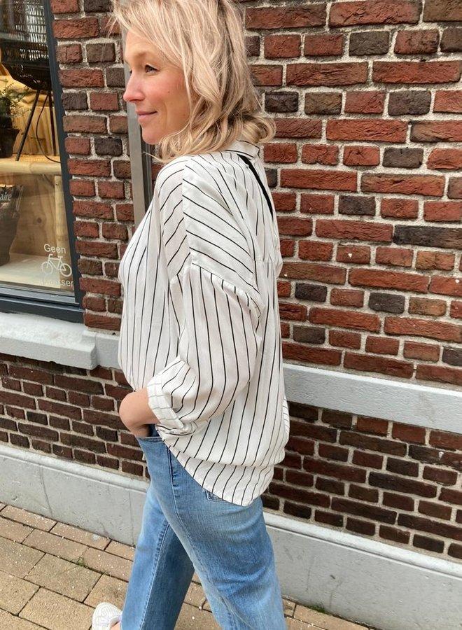 10days blouse pinstripe white