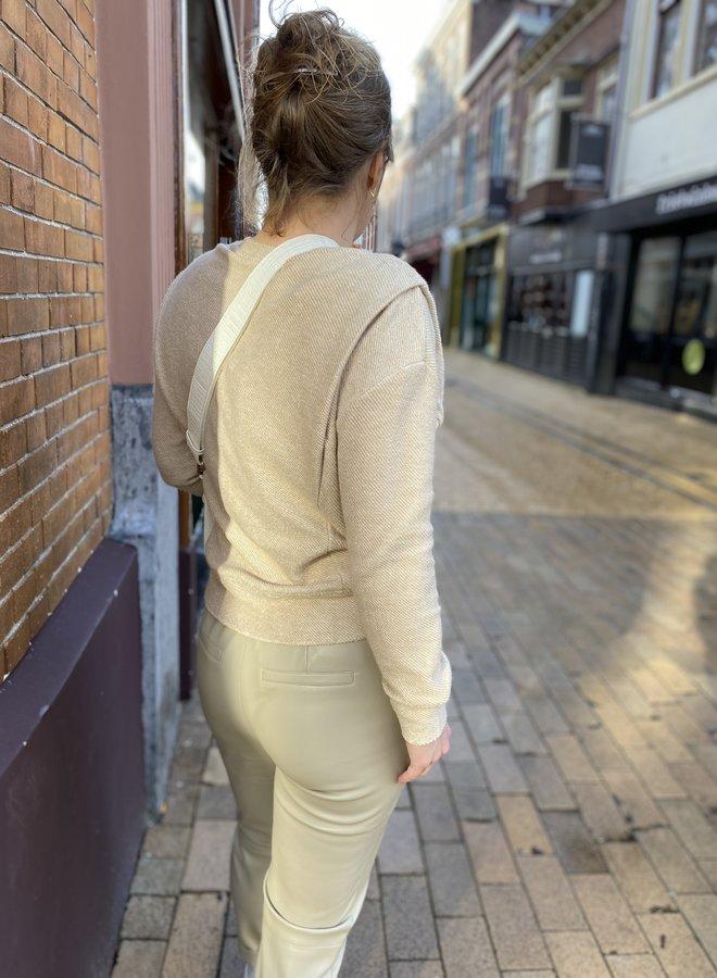 Yaya faux leather trouser sand