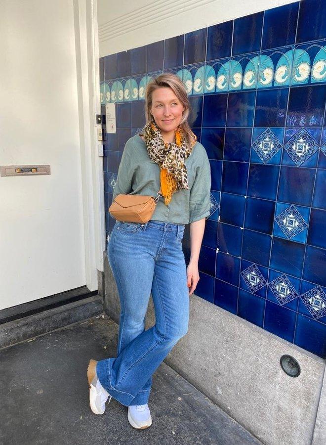 By Bar liva linen blouse smoke blue