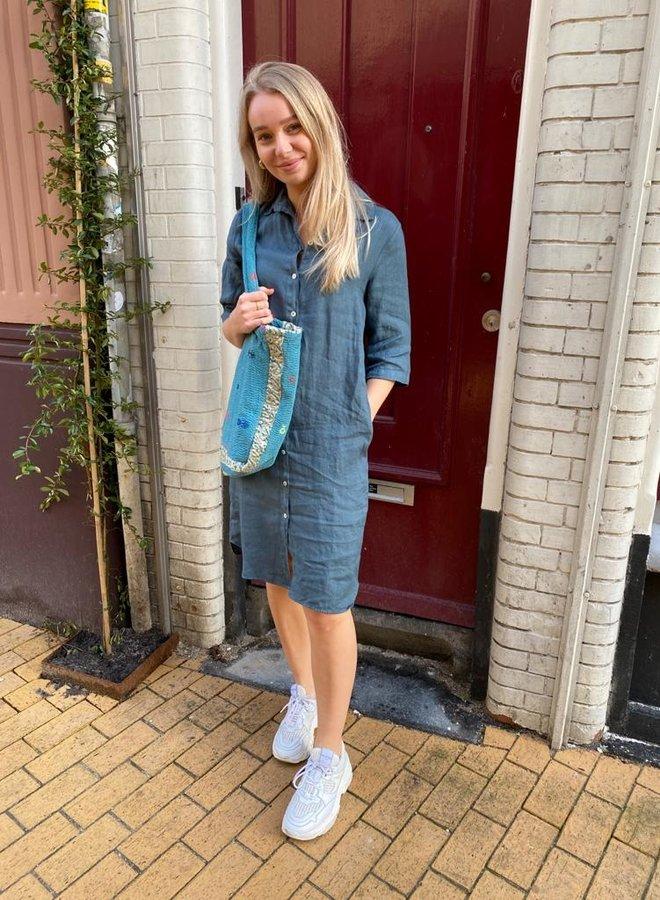 By Bar bodil linen dress oil blue