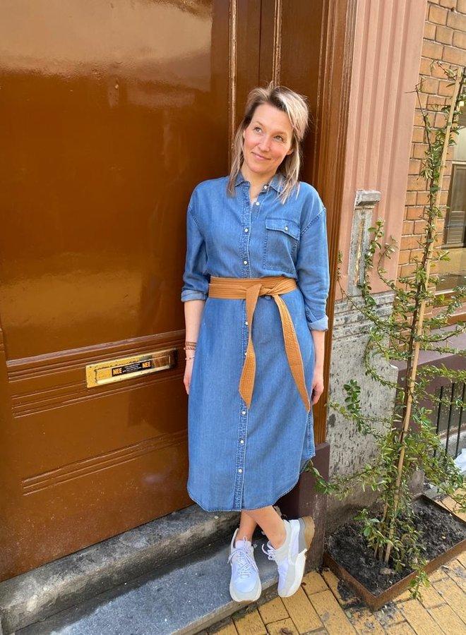Denham long shirt dress blue