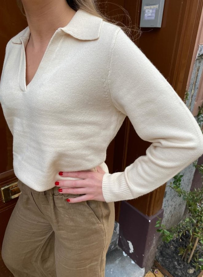 SF aeya knit polo neck sandshell