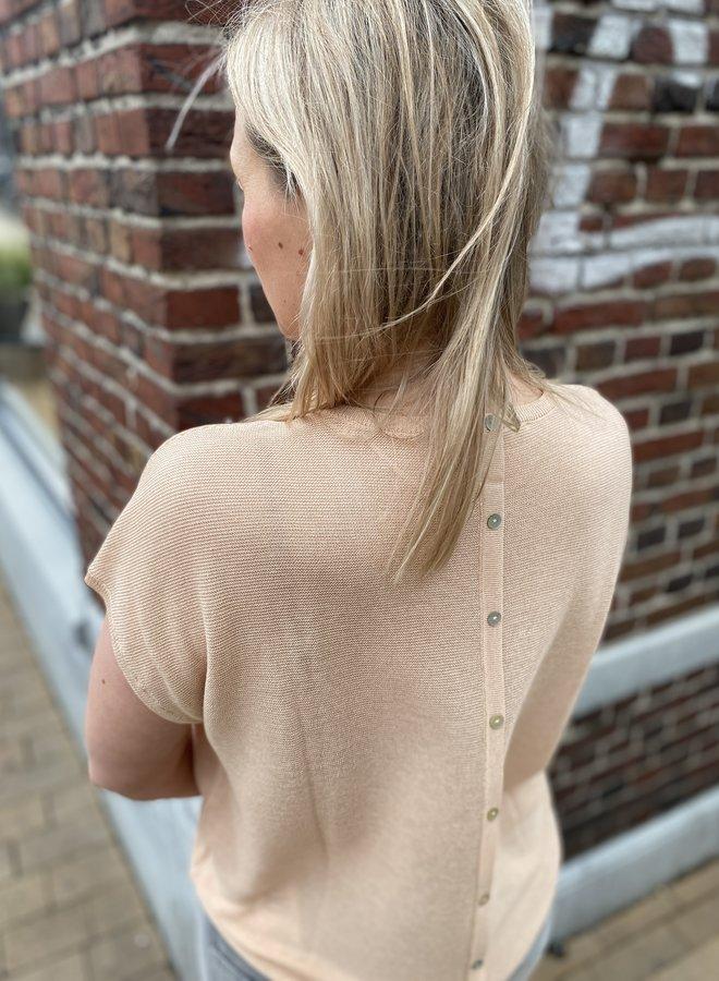 Yaya v neck top silk buttons on back