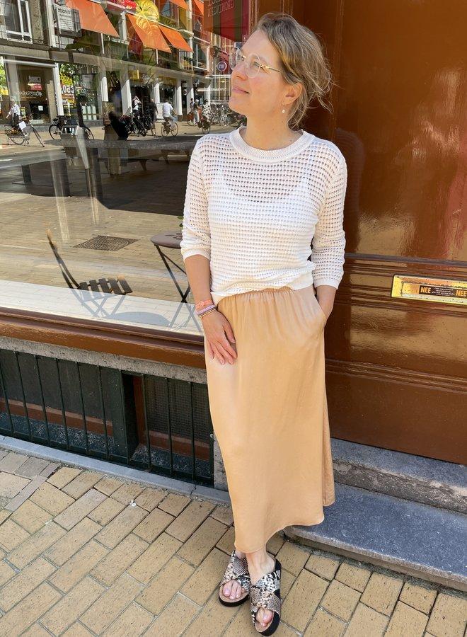 Yaya knitted sweater 3/4 sleeve white