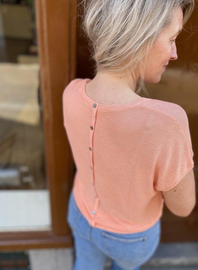 Yaya v neck top silk buttons on back dahlia