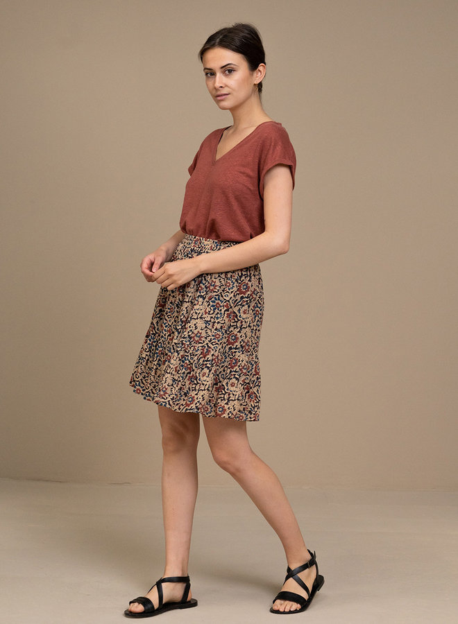 By Bar mila top linen sienna red