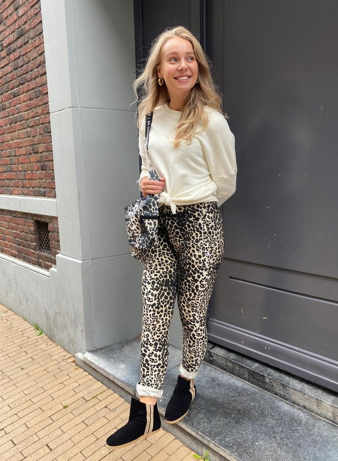 10DAYS leopard jogger soft white
