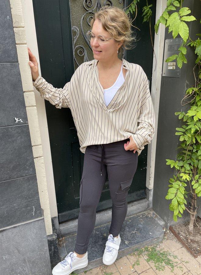10DAYS blouse pinstripe cement