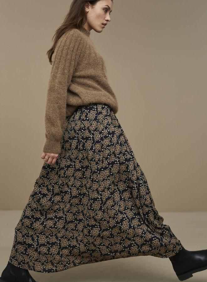 By Bar lien skirt brown print