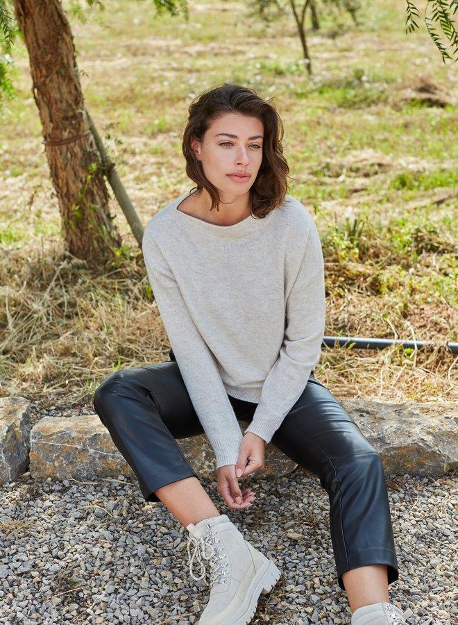 Yaya boatneck sweater beige