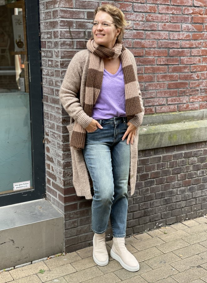 Zusss simpel lang vest taupe