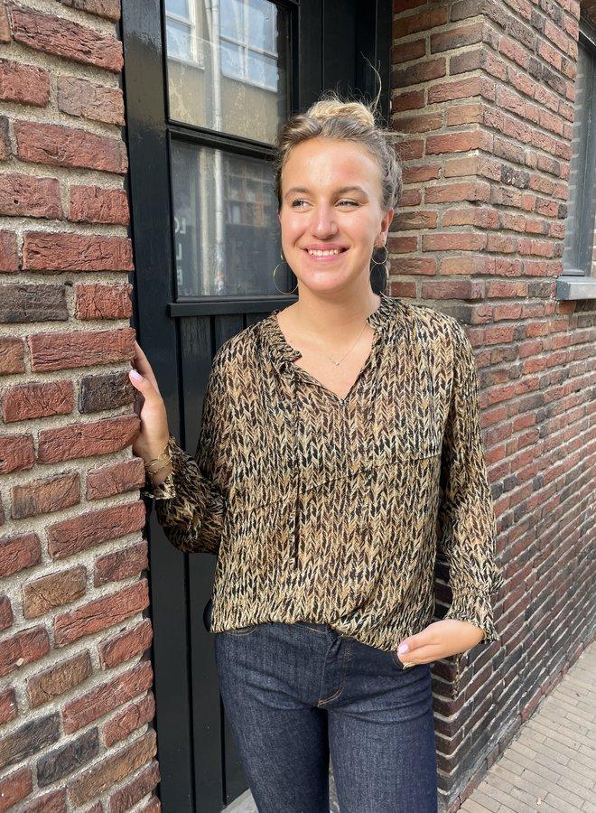 Circle meda blouse army print
