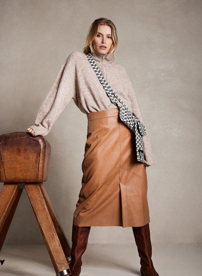 10DAYS vegan leather skirt cognac