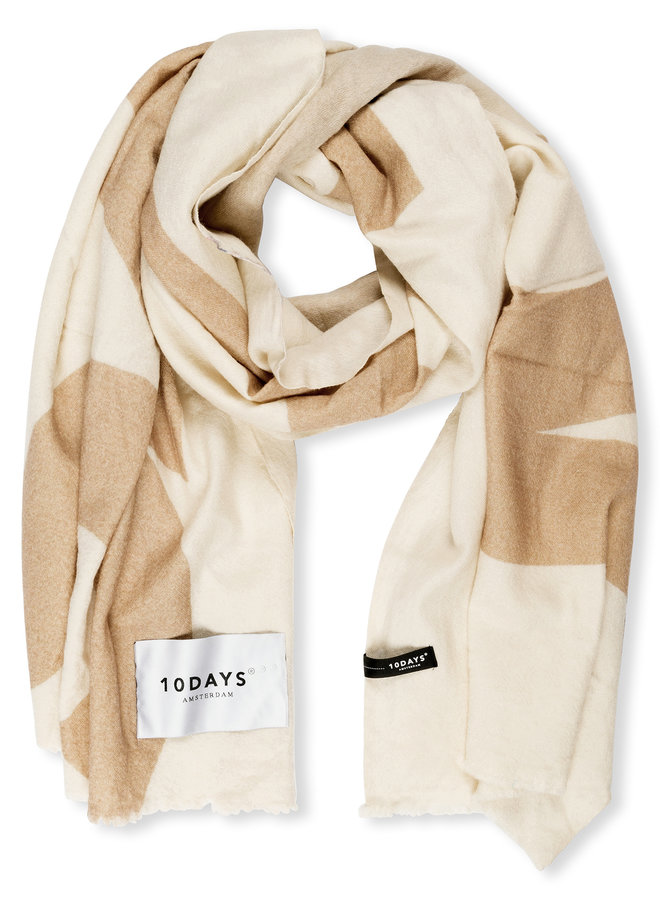 10DAYS wool scarf big logo ecru